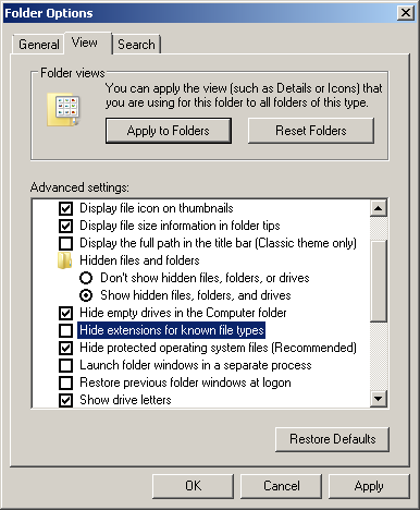 folder options unhide file extensions